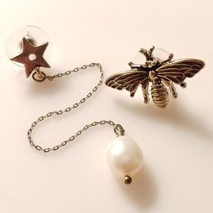 🆕🐝Gold Bee Star & Pearl Asymetric Mixed Earrings